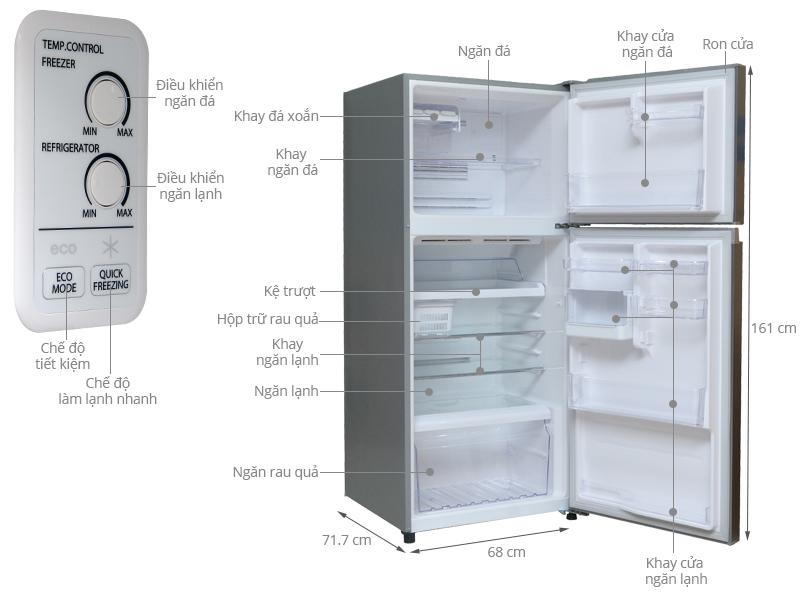 Thông số kỹ thuật Tủ lạnh Toshiba GR-T41VUBZ DS 359 lít