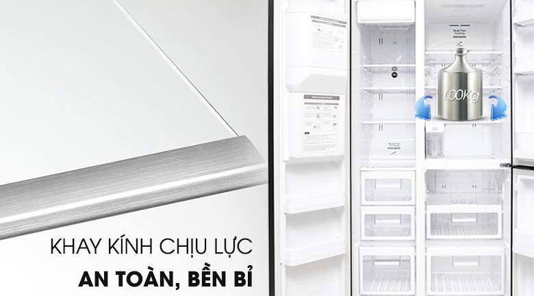 Khay chứa an toàn, chắc chắn - Tủ lạnh Hitachi Inverter 584 lít R-M700AGPGV4X DIA