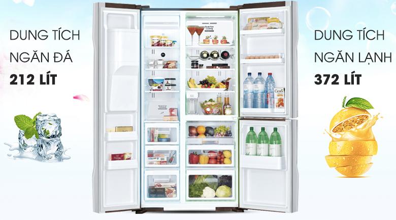 Dung tích lên đến 584 lít  - Tủ lạnh Hitachi Inverter 584 lít R-M700AGPGV4X DIA