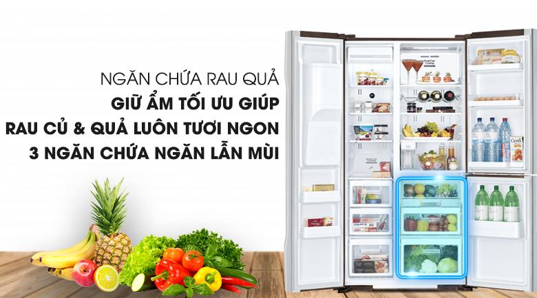 Ngăn chứa rau củ quả độc lập nhau - Tủ lạnh Hitachi Inverter 584 lít R-M700AGPGV4X DIA