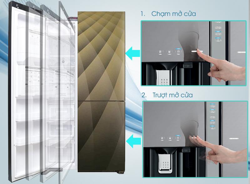 Cửa tự động của tủ lạnh Hitachi R-M700AGPGV4X DIA có thể mở ra chỉ bằng cái chạm hoặc trượt công tắt nhẹ nhàng của bạn