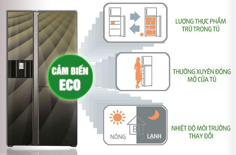 Tủ lạnh Hitachi R-M700AGPGV4X DIA có cảm biến Eco giúp cảm nhận sự thay đổi nhiệt dộ môi trường bên ngoài cũng như lượng thực phẩm bên trong tủ
