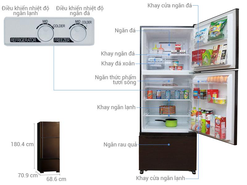 Thông số kỹ thuật Tủ lạnh Mitsubishi Electric Inverter 414 lít MR-V50EH-BRW