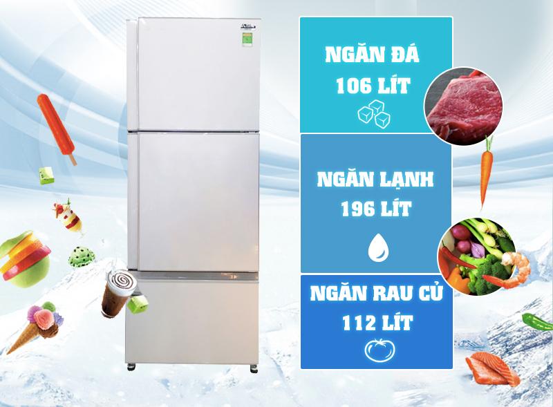 Với thiết kế 3 ngăn tiện dụng, tủ lạnh Mitsubishi Electric MR-V50EH-SLW với gam màu bạc vân sóng độc đáo
