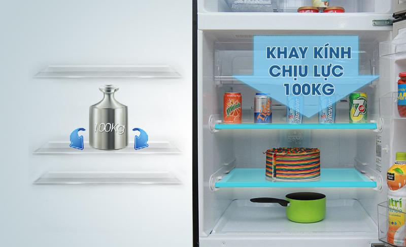 Khay kính của tủ lạnh Mitsubishi Electric MR-V50EH-SLW có thể chịu lực tốt