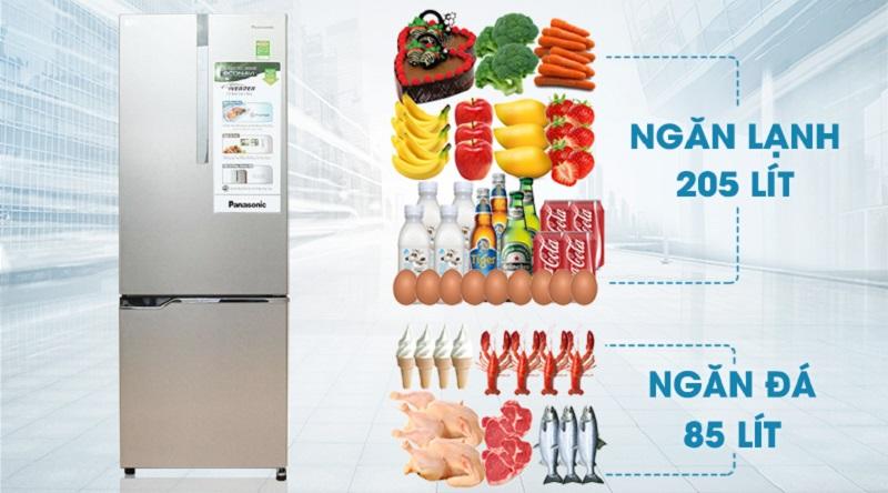 Dung tích lớn cho bạn thoải mái tích trữ thực phẩm - Tủ lạnh Panasonic Inverter 290 lít NR-BV328XSVN