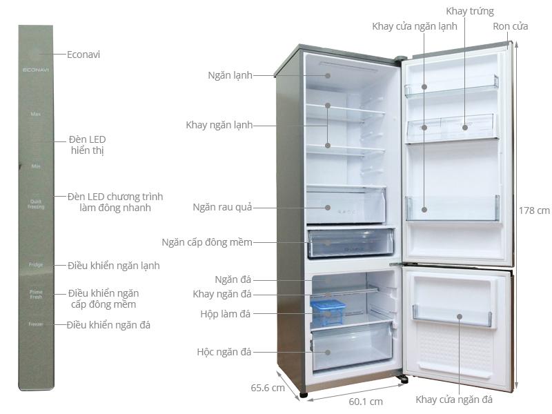 Thông số kỹ thuật Tủ lạnh Panasonic 322 lít NR-BV368XSVN