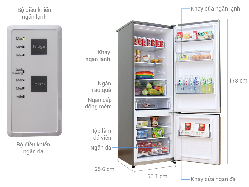 Thông số kỹ thuật Tủ lạnh Panasonic 322 lít NR-BV368QSVN