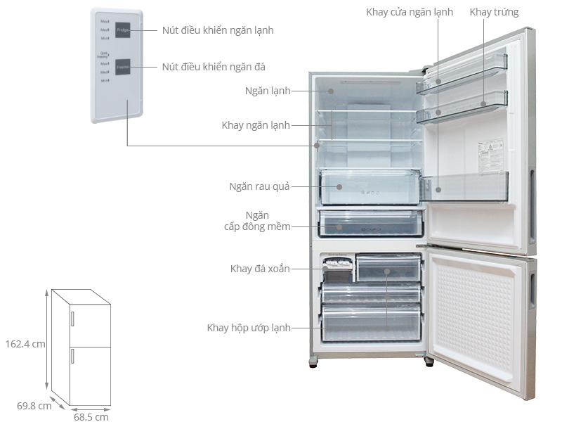 Thông số kỹ thuật Tủ lạnh Panasonic 363 lít NR-BX418VSVN