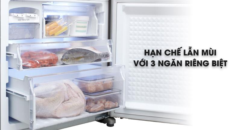 3 ngăn đông riêng biệt không sợ lẫn mùi - Tủ lạnh Panasonic Inverter 363 lít NR-BX418VSVN