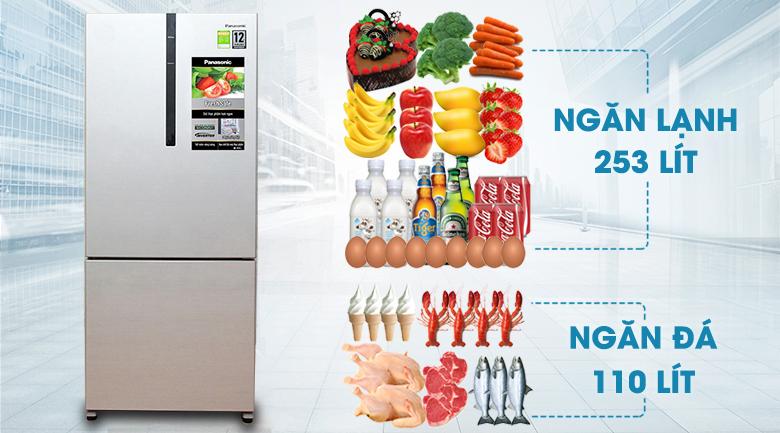 Dung tích sử dụng 363 lít - Tủ lạnh Panasonic Inverter 363 lít NR-BX418VSVN