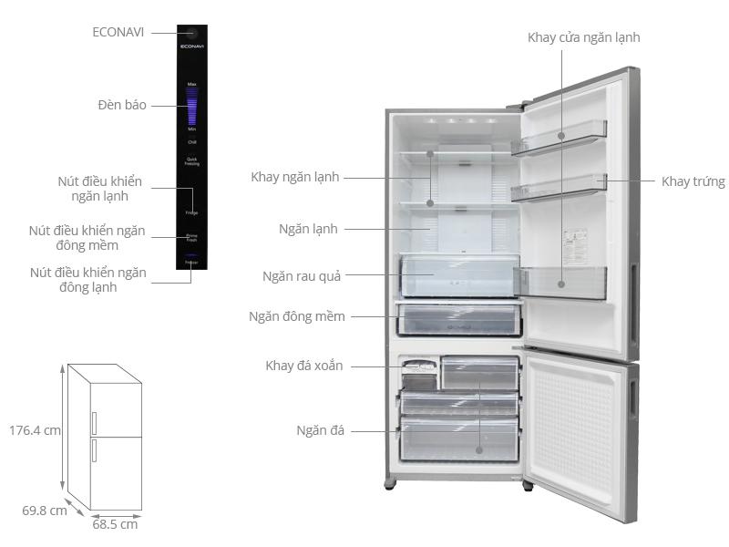 Thông số kỹ thuật Tủ lạnh Panasonic 405 lít NR-BX468XSVN