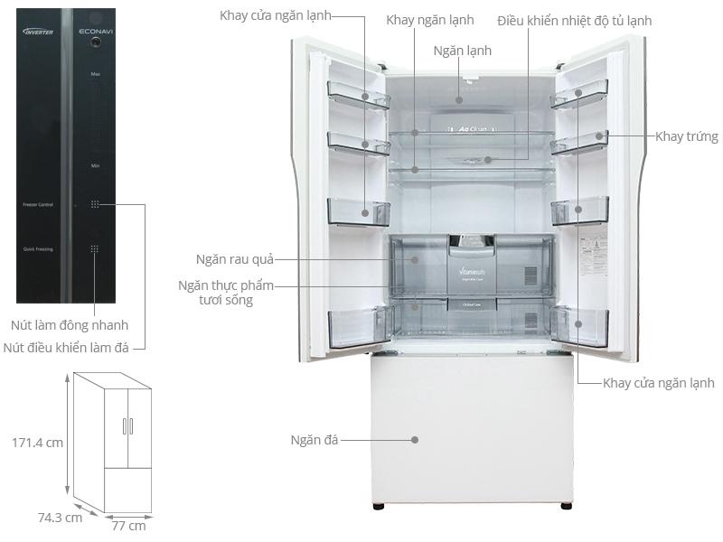Thông số kỹ thuật Tủ lạnh Panasonic 491 lít NR-CY557GWVN