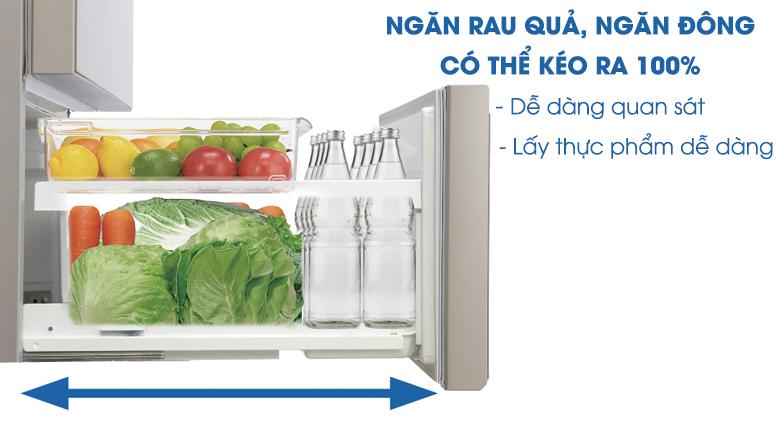 Thiết kế 100% ngăn kéo mở - Tủ lạnh Panasonic Inverter 588 lít NR-F610GT-N2