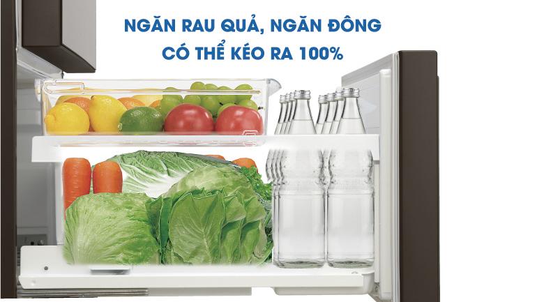 Ngăn đông và ngăn rau củ có thể kéo ra 100% - Tủ lạnh Panasonic Inverter 588 lít NR-F610GT-X2