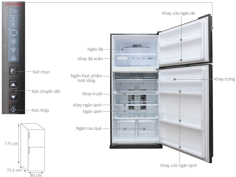 Thông số kỹ thuật Tủ lạnh Sharp 585 lít SJ-XP590PG-BK