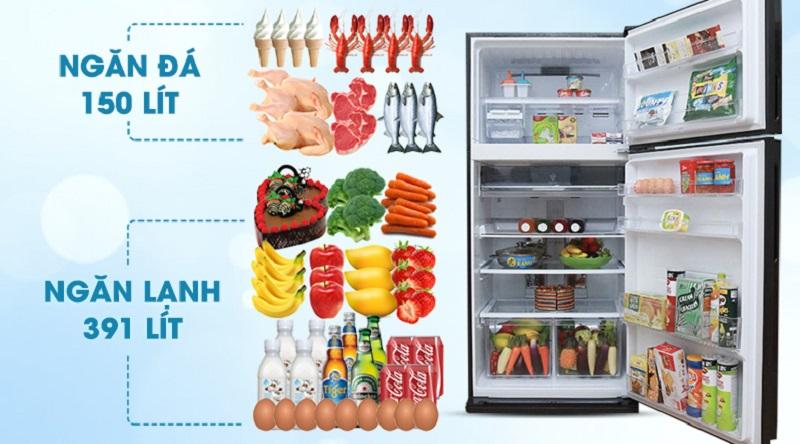 Dung tích lớn phù hợp cho gia đình đông người - Tủ lạnh Sharp Inverter 585 lít SJ-XP590PG-BK