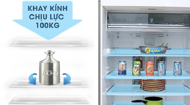 Khay kính chịu lực có độ bền cao - Tủ lạnh Sharp Inverter 585 lít SJ-XP590PG-BK