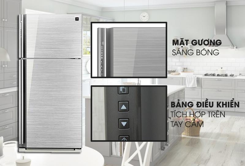Với thiết kế hiện đại cùng mặt gương sáng bóng, tủ lạnh Sharp SJ-XP590PG-SL rất dễ được lau chùi sạch sẽ