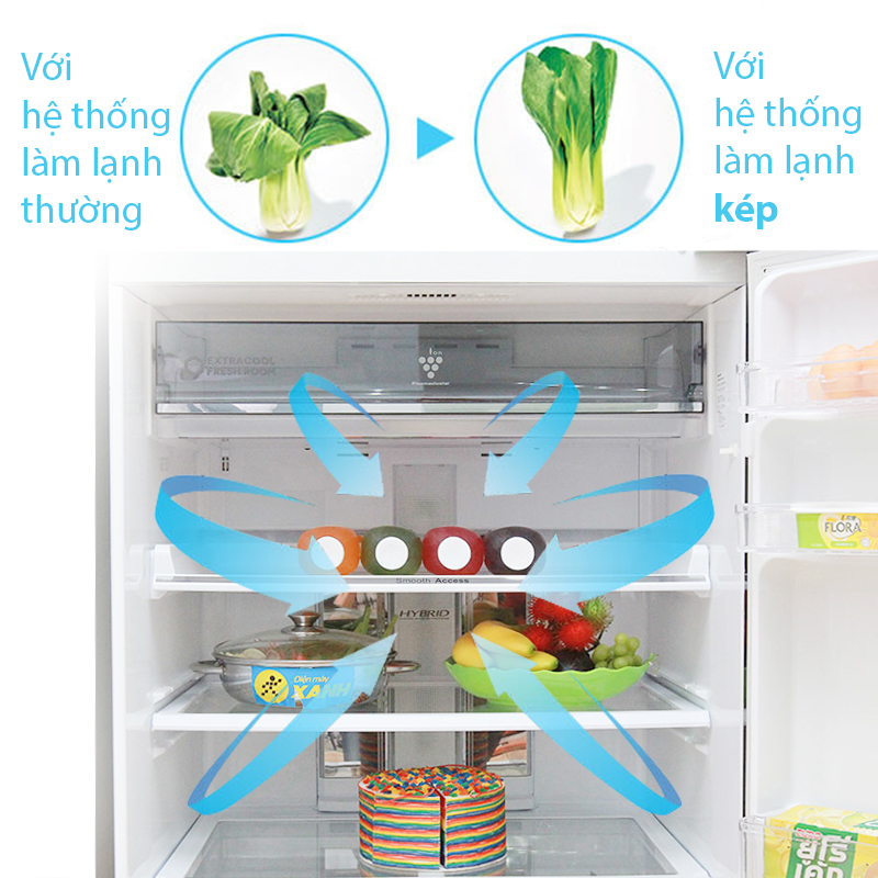 Hệ thống làm lạnh kép tiên tiến giúp tăng cường khả năng đảm bảo thực phẩm tươi ngon, trọn vẹn nguyên vị trong tủ lạnh Sharp SJ-XP590PG-SL