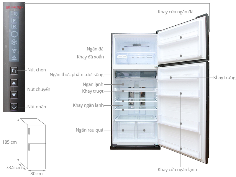 Thông số kỹ thuật Tủ lạnh Sharp 627 lít SJ-XP630PG-BK
