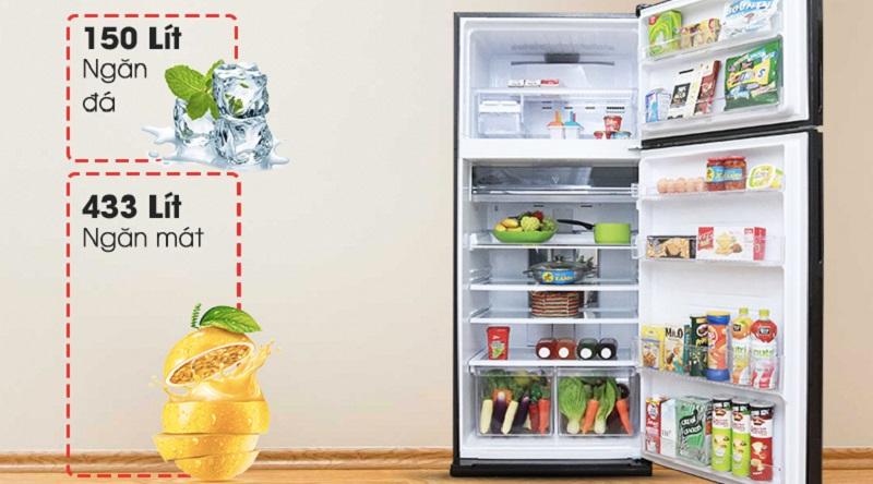 Dung tích lớn, thêm  nhiều không gian lưu trữ thực phẩm - Tủ lạnh Sharp Inverter 627 lít SJ-XP630PG-BK
