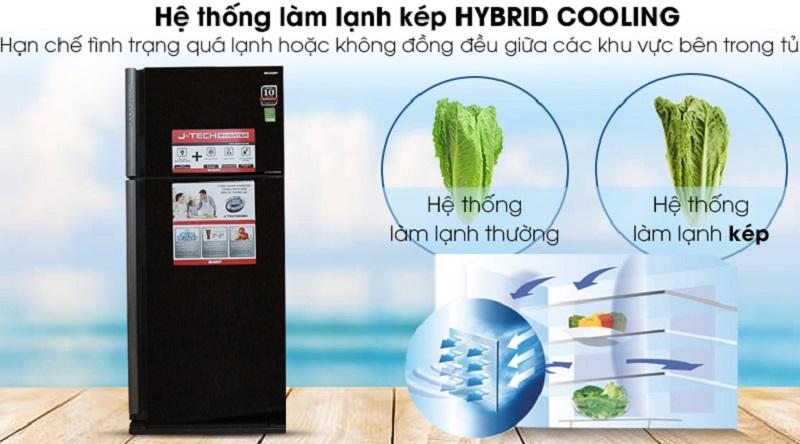Hệ thống làm lạnh kép giúp cho nhiệt độ tủ luôn đồng đều - Tủ lạnh Sharp Inverter 627 lít SJ-XP630PG-BK