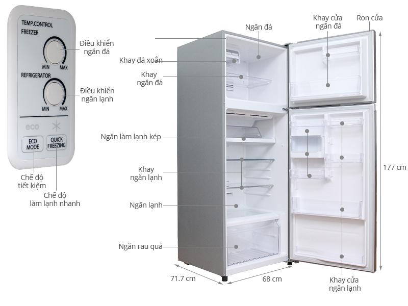 Thông số kỹ thuật Tủ lạnh Toshiba GR-T46VUBZ LS1 409 lít