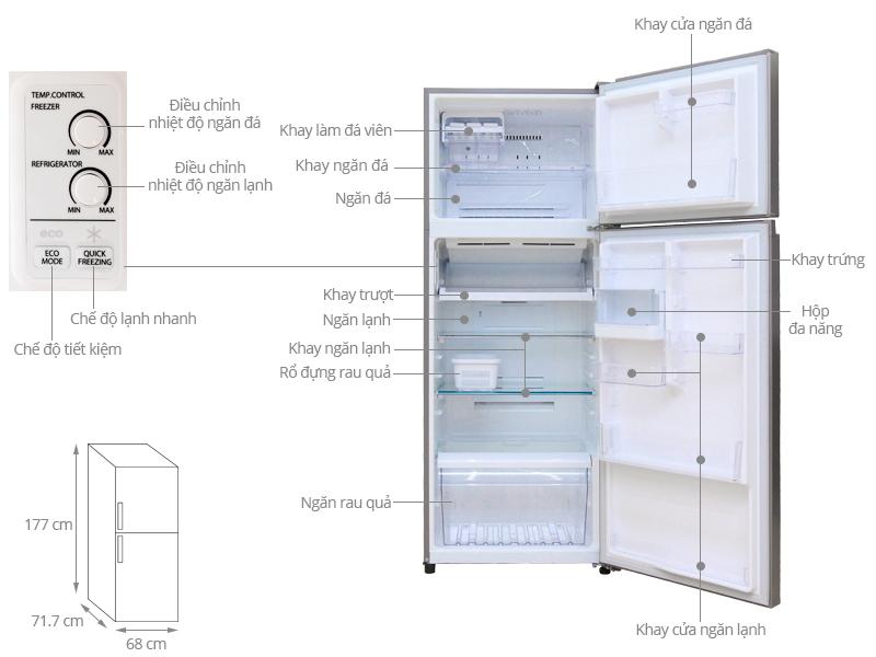 Thông số kỹ thuật Tủ lạnh Toshiba 409 lít GR-T46VUBZ N1