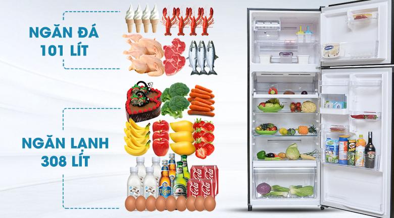 Tủ lạnh Toshiba Inverter 409 lít GR-TG46VPDZ - Dung tích