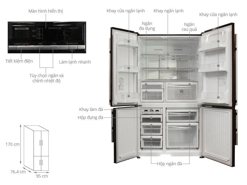 Thông số kỹ thuật Tủ lạnh Mitsubishi Electric Inverter 580 lít MR-L72EH-BRW