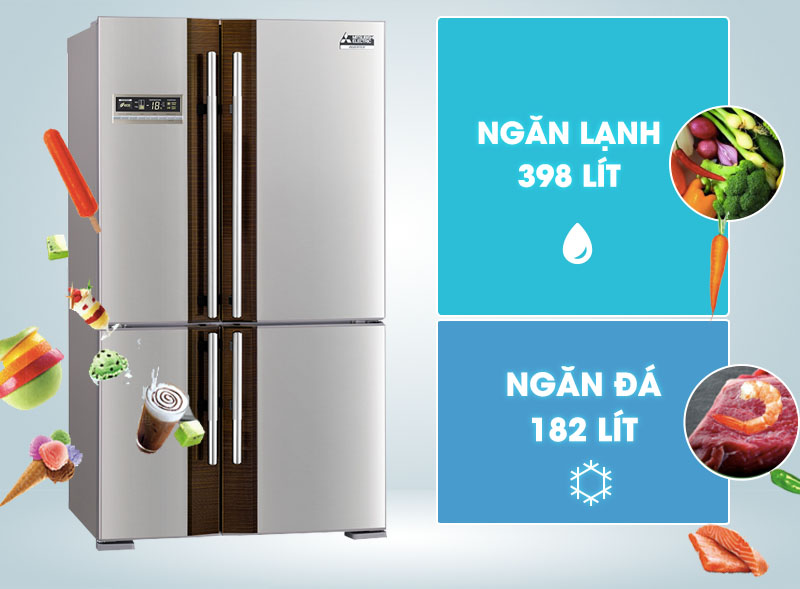 Với 4 cửa tủ rộng lớn và vẻ ngoài mang gam màu trang nhã, nhẹ nhàng nhưng không hề kém phần tinh tế, tủ lạnh Mitsubishi Electric MR-L72EH-STV hứa hẹn sẽ tô điểm thêm cho vẻ đẹp của nhà bạn