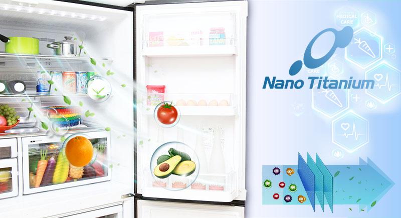 Bộ lọc Titanium của tủ lạnh Mitsubishi Electric MR-L72EH-STV đảm bảo lọc sạch bụi bẩn trong không khí cũng như các phần tử gây hại khác