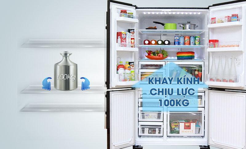 Tủ lạnh Mitsubishi Electric MR-L72EH-STV có khay thủy tinh chịu lực tốt