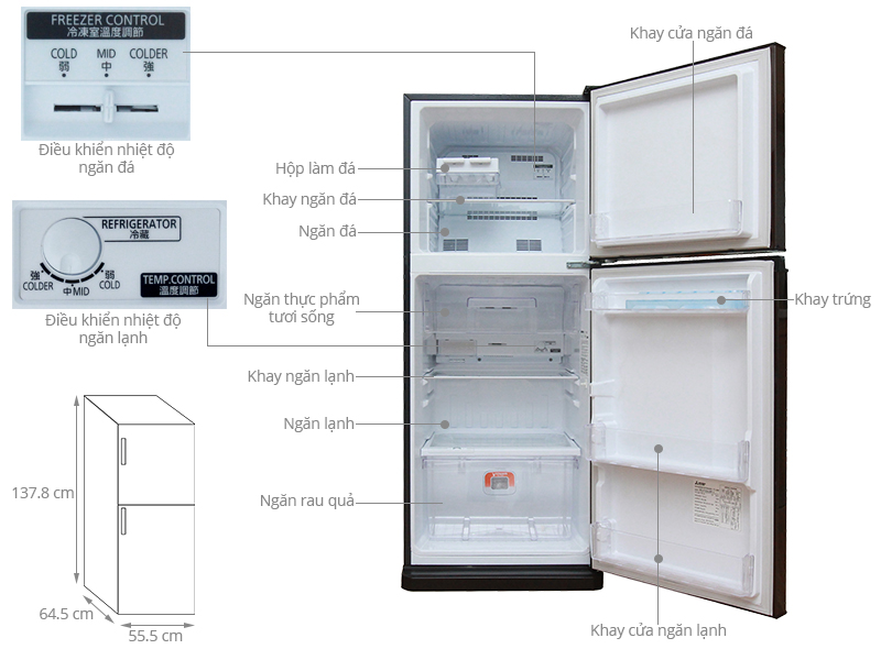 Thông số kỹ thuật Tủ lạnh Mitsubishi Electric MR-FV24J-BR-V 204L