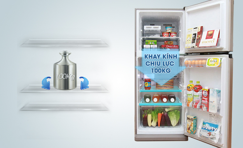 Tủ lạnh Mitsubishi Electric MR-FV24J-PS-V có khay thủy tinh chịu lực được