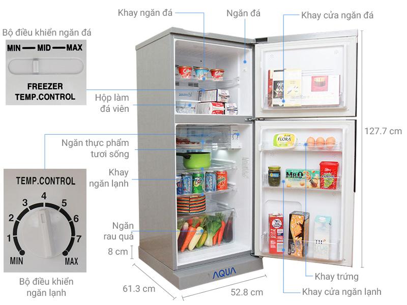 Thông số kỹ thuật Tủ lạnh Aqua 165 lít AQR-S185BN SN