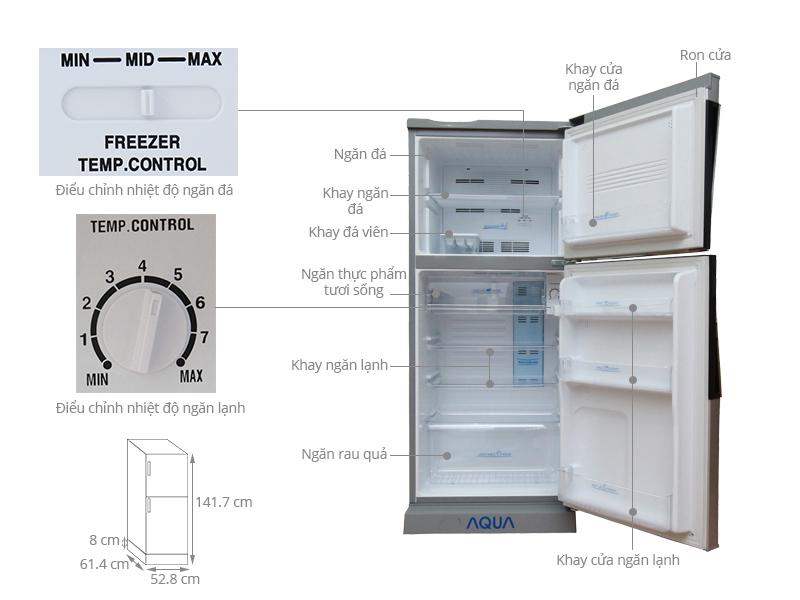 Thông số kỹ thuật Tủ lạnh Aqua 186 lít AQR-S205BN SN