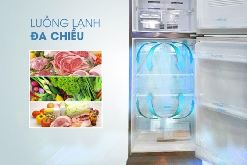 Công nghệ luồng khí lạnh ba chiều của tủ lạnh Aqua 207 lít AQR-P235BN giúp luân phiên dòng khí đến mọi ngóc ngách trong tủ