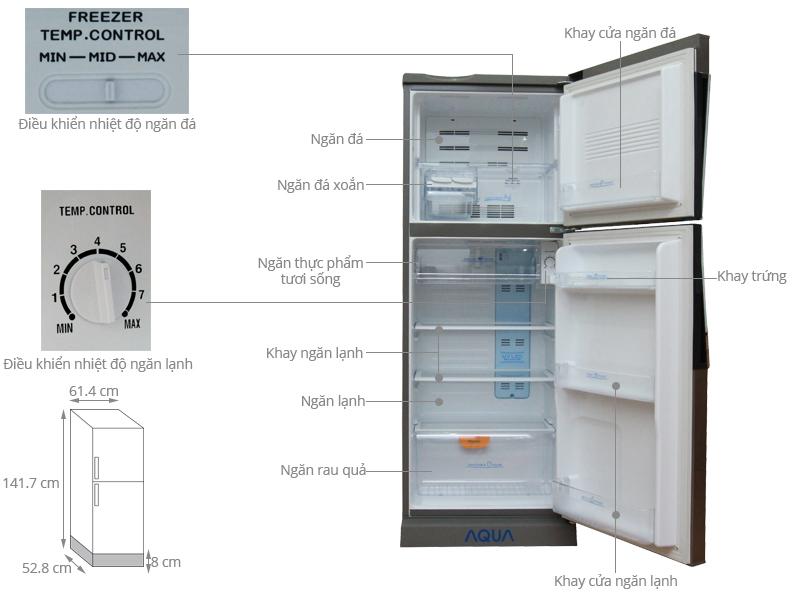 Thông số kỹ thuật Tủ lạnh Aqua 186 lít AQR-U205BN SU