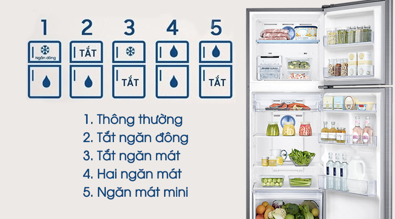 5 chế độ chuyển đổi - Tủ lạnh Samsung Inverter 299 lít RT29K5532S8/SV