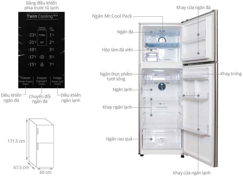 Thông số kỹ thuật Tủ lạnh Samsung Inverter 320 lít RT32K5532S8/SV