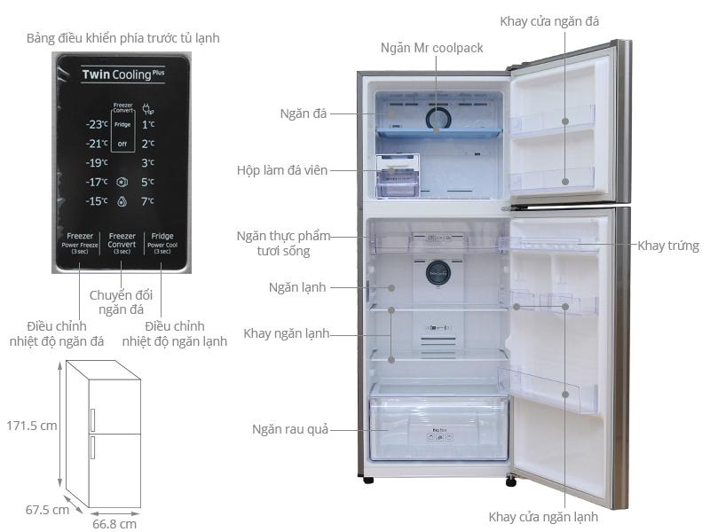 Thông số kỹ thuật Tủ lạnh Samsung 364 lít RT35K5532S8/SV