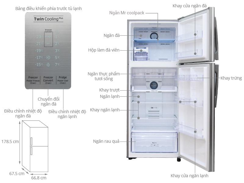 Thông số kỹ thuật Tủ lạnh Samsung Inverter 443 lít RT43K6331SL/SV