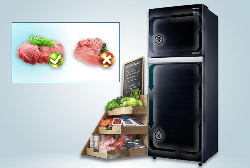 Công nghệ làm lạnh với hai hệ thống dàn lạnh riêng biệt, độc lập cho hai ngăn tủ khác nhau sẽ giúp tủ lạnh Samsung RT38K5032GL/SV giữ được độ ẩm
