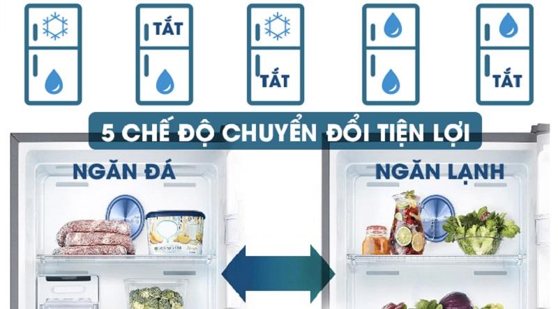 5 chế độ chuyển đổi giữa 2 ngăn cực kỳ tiện lợi - Tủ lạnh Samsung Inverter 380 lít RT38K5982SL/SV