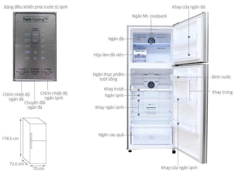 Thông số kỹ thuật Tủ lạnh Samsung Inverter 438 lít RT43K6631SL/SV