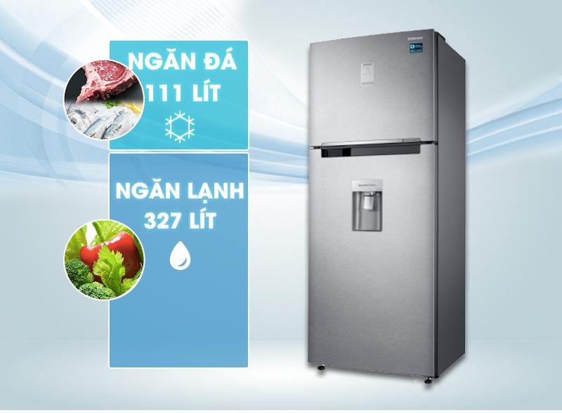 Chiếc tủ lạnh Samsung RT43K6631SLSV có thiết kế với gam màu xám bạc hiện đại và tươi mới