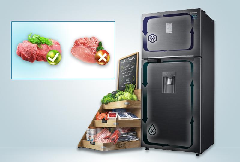 Công nghệ Twin Cooling Plus (hệ thống làm lạnh hai dàn lạnh) đã mang đến cho tủ lạnh Samsung RT50K6631BS/SV một khả năng làm lạnh có thể giữ được độ ẩm cao
