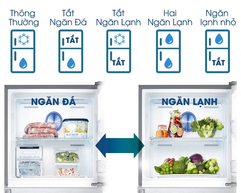 Hai dàn lạnh của tủ lạnh Samsung RT50K6631BS/SV có thể chuyển đổi chế độ qua lại theo 5 chế độ khác nhau